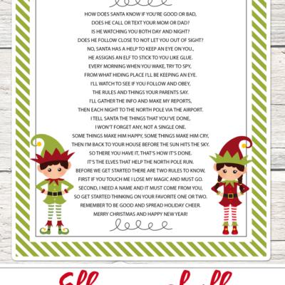 FREE Elf on a Shelf printable poem - perfect to use this holiday season!!