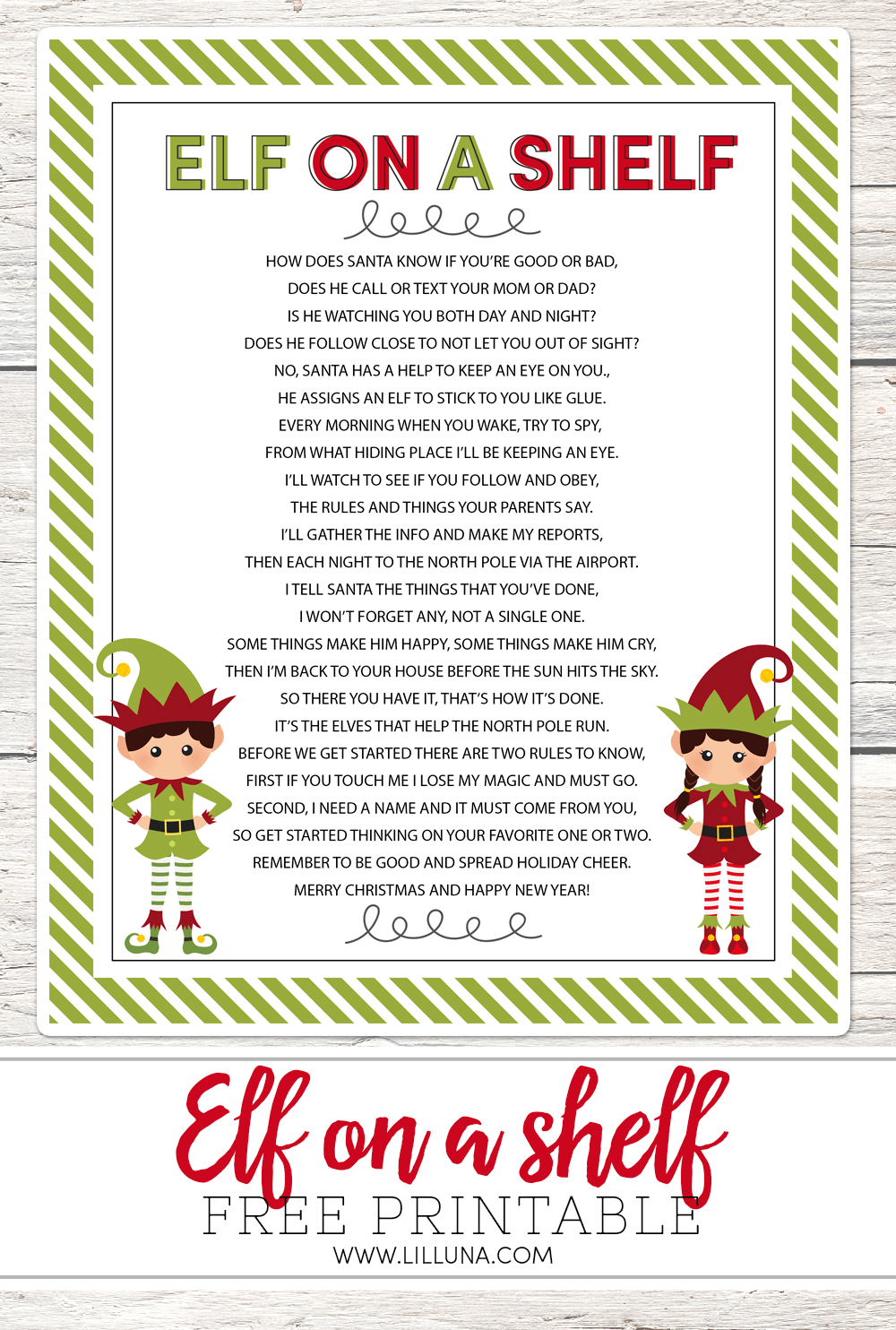 FREE Elf on a Shelf printable poem - perfect to use this holiday season!!