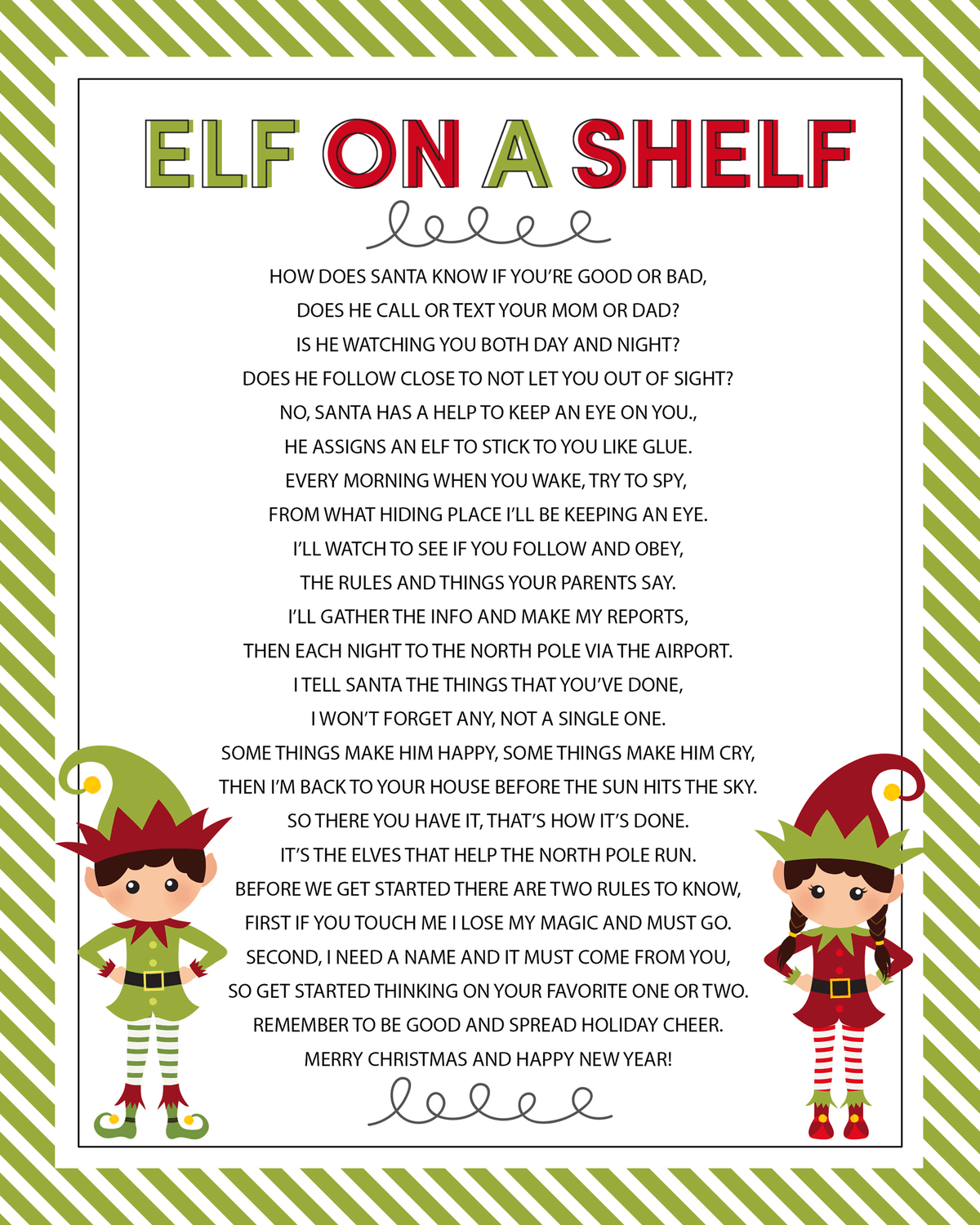 Elf on a Shelf - printable poem! So cute and perfect to use when your elf comes!